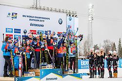 March 16, 2019 - –Stersund, Sweden - 190316 Hanna Öberg, Mona Brorsson, Anna Magnusson and Linn Persson of Sweden, Anastasiya Merkushyna, Vita Semerenko, Yuliia Dzhima and Valj Semerenko of Ukraine, Synnøve Solemdal, Ingrid Landmark Tandrevold, Tiril Eckhoff and Marte Olsbu Røiseland of Norway and  celebrate after the Women's 4x6 km Relay during the IBU World Championships Biathlon on March 16, 2019 in Östersund..Photo: Johan Axelsson / BILDBYRÃ…N / Cop 245 (Credit Image: © Johan Axelsson/Bildbyran via ZUMA Press)
