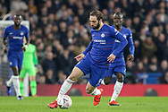 Chelsea Forward Gonzalo Higuain on loan from Juventus during the The FA Cup 5th round match between Chelsea and Manchester United at Stamford Bridge, London, England on 18 February 2019.