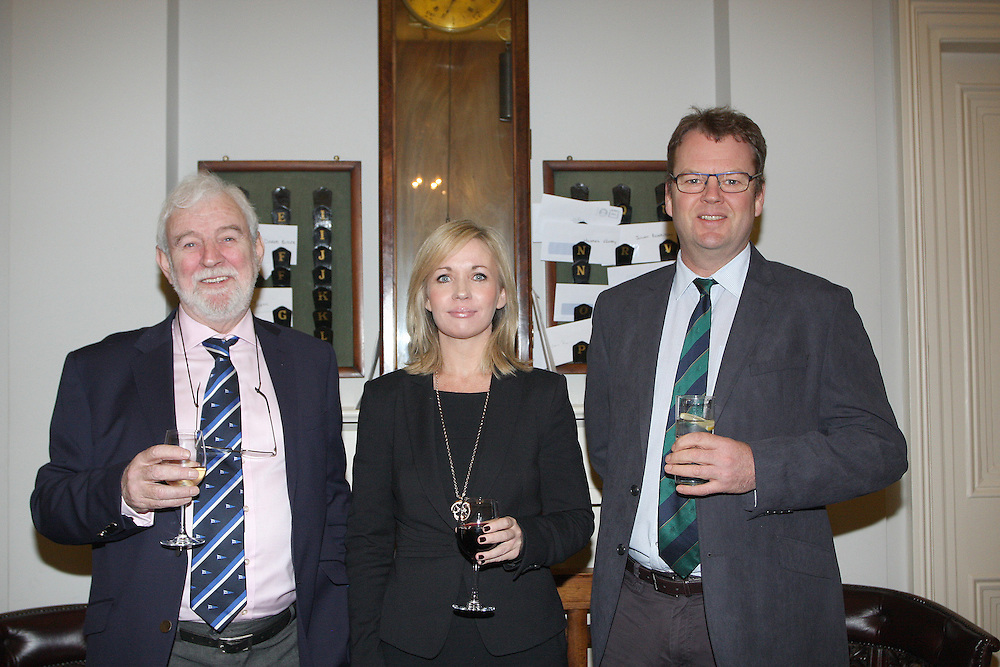 Theo Phelan Race Officer Wicklow Sailing Club, Patricia Greene Volvo Car Ireland, Harry Hermon CEO of the ISA  at the launch of 18th Volvo 2016 Round Ireland Yacht Race which was held in the Royal Irish Yacht Club.<br />Photo Ann Egan