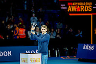 Alex De Minaur of Australia with the ATP Newcomer of The Year Award, presented by Moet and Chandon during the Nitto ATP World Tour Finals at the O2 Arena, London, United Kingdom on 13 November 2018.Photo by Martin Cole