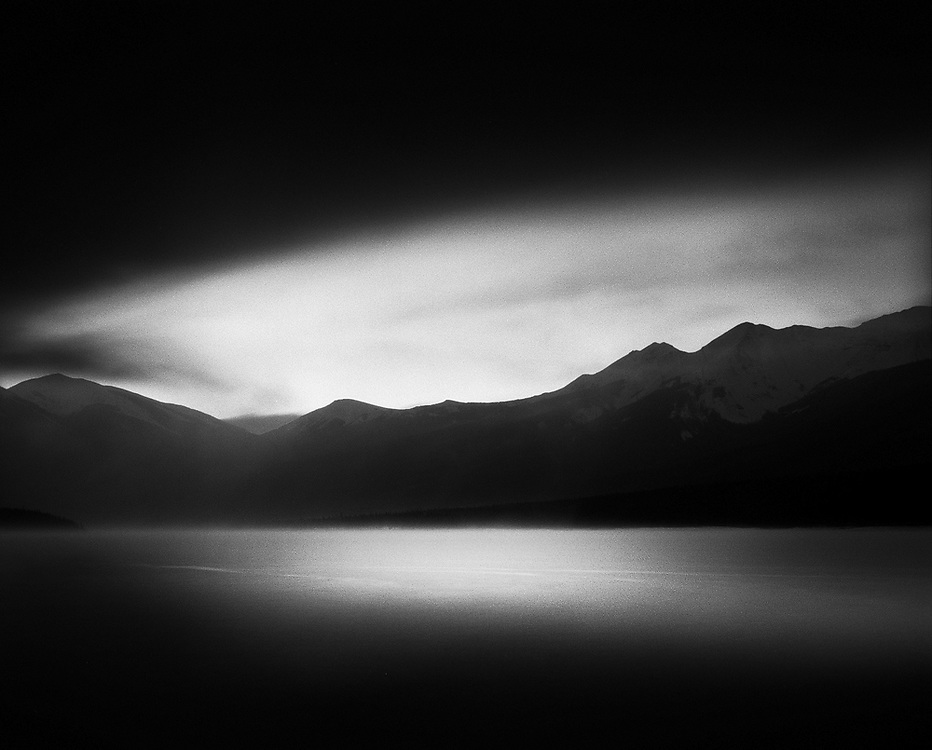 Sunrise over Abraham Lake in early winter