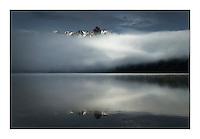 Foggy morning at Redfish Lake, Sawtooth National Recreation Area Idaho