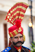 Ceremonial guard Jai Mewar of 76th Maharana of Mewar, Mewar of Udaipur, at the City Palace, Rajasthan, India