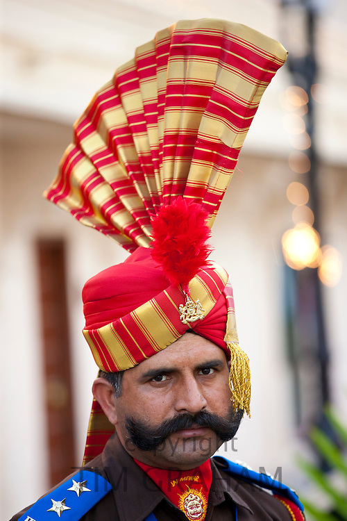 Ceremonial guard Jai Mewar of 76th Maharana of Mewar, Mewar of Udaipur, at the City Palace, Rajasthan, India