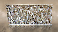 Roman sarcophagus depicting a battle between Achilles and Pentesilea and Amazons, the faces of the deceased have been sculpted over the Greek heroes, circa 230-250 AD, inv 933, Vatican Museum Rome, Italy,  art background ..<br /> <br /> If you prefer to buy from our ALAMY STOCK LIBRARY page at https://www.alamy.com/portfolio/paul-williams-funkystock/greco-roman-sculptures.html . Type -    Vatican    - into LOWER SEARCH WITHIN GALLERY box - Refine search by adding a subject, place, background colour, museum etc.<br /> <br /> Visit our CLASSICAL WORLD HISTORIC SITES PHOTO COLLECTIONS for more photos to download or buy as wall art prints https://funkystock.photoshelter.com/gallery-collection/The-Romans-Art-Artefacts-Antiquities-Historic-Sites-Pictures-Images/C0000r2uLJJo9_s0c