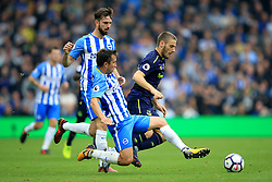 15 October 2017 -  Premier League - Brighton and Hove Albion v Everton - Nikola Vlasic of Everton in action with Marus Suttner and Davy Propper of Brighton and Hove Albion - Photo: Marc Atkins/Offside