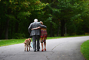 Governor General David Johnston and wife Sharon and dog Rosie leave following a ceremonial tree planting to commemorate the end of his mandate at Rideau Hall in Ottawa on Thursday, Sept. 28, 2017. The Canadian Press/Sean Kilpatrick
