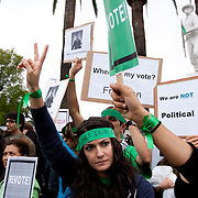 Protesters gather in support of those in Iran who are battling government forces over disputed election results. A thousand demonstrators gathered at the Westwood Federal Building in Los Angeles.