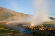 Geyser and geothermal activity along the Little Firehole River in Yellowstone National Park, Wyoming.