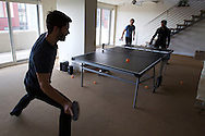 Ben Mathes, Joshua Slayton, and Naval Ravikant play ping pong at the AngelList office in San Francisco on Tuesday October 23, 2012. AngelList is a platform that helps connect startups with investors. (Photo by Jakub Mosur/For Boston Globe)