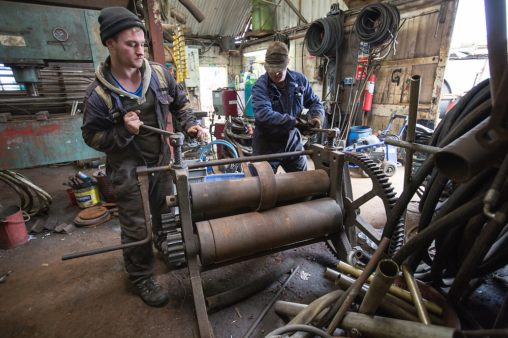 Mallaig Boatyard. Anthony Whitton, engineer apprentice and Ian MacLeod, fabricator welder (R). Picture Robert Perry 9th April 2016<br /> <br /> Must credit photo to Robert Perry<br /> FEE PAYABLE FOR REPRO USE<br /> FEE PAYABLE FOR ALL INTERNET USE<br /> www.robertperry.co.uk<br /> NB -This image is not to be distributed without the prior consent of the copyright holder.<br /> in using this image you agree to abide by terms and conditions as stated in this caption.<br /> All monies payable to Robert Perry<br /> <br /> (PLEASE DO NOT REMOVE THIS CAPTION)<br /> This image is intended for Editorial use (e.g. news). Any commercial or promotional use requires additional clearance. <br /> Copyright 2014 All rights protected.<br /> first use only<br /> contact details<br /> Robert Perry     <br /> 07702 631 477<br /> robertperryphotos@gmail.com<br /> no internet usage without prior consent.         <br /> Robert Perry reserves the right to pursue unauthorised use of this image . If you violate my intellectual property you may be liable for  damages, loss of income, and profits you derive from the use of this image.