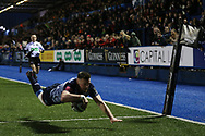 Owen Lane of Cardiff Blues dives over to score his teams 3rd try. Guinness Pro14 rugby match, Cardiff Blues v Munster Rugby at the Cardiff Arms Park in Cardiff, South Wales on Saturday 17th February 2018.<br /> pic by Andrew Orchard, Andrew Orchard sports photography.