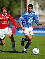 Eirik Hoseth, Aalesund. Espen Nystuen, Kongsvinger.<br /> <br /> Fotball: Kongsvinger - Aalesund 2-2 (5-2 e. straffer). NM 2004 herrer, 3. runde. 8. juni 2004. (Foto: Peter Tubaas/Digitalsport.