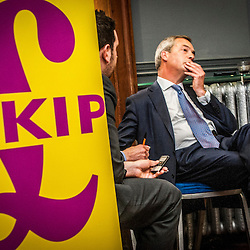 Nigel Farage, UKIP leader,  at Edinburgh's Corn Exchange.