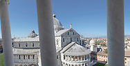 The Duomo seen from the world famous Leaning (bell) Tower in Pisa, Tuscany, Italy.<br /> Picture date: Thursday February 21, 2019.<br /> Photograph by Christopher Ison ©<br /> 07544044177<br /> chris@christopherison.com<br /> www.christopherison.com