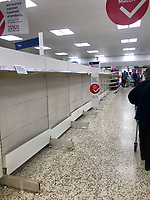 Shelves at tescos stratford upon avon have been emptied again as people continue to stockpile food and cleaning supplys during the coronavirus outbreak photo by mark anton smith