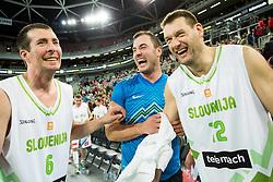 Jaka Daneu, Marko Milic and Goran Jagodnik during basketball match between Slovenian football and basketball Legends at All-Stars Stozice 2014, on December 28, 2014 in Arena Stozice, Ljubljana, Slovenia. Photo by Vid Ponikvar / Sportida