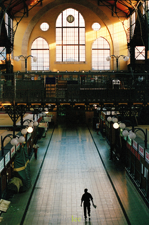 Inside the Great Market Hall, a huge indoor market while it is closed, Budapest, Hungary