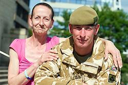 SGT CHRIS EDLEY AND MUM LINDA EDLEY Freedom Parade 3rd Battalion The Yorkshire Regiment Sheffield 23 June 2010 .Images © Paul David Drabble.