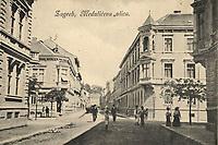 Zagreb : Medulićeva ulica. <br /> <br /> ImpresumZagreb : Naklada A. Brusine, [1902].<br /> Materijalni opis1 razglednica : tisak ; 8,7 x 13,9 cm.<br /> SuradnikMosinger, Rudolf(1865.–1918.)<br /> NakladnikTiskara A. Brusina<br /> Mjesto izdavanjaZagreb<br /> Vrstavizualna građa • razglednice<br /> ZbirkaGrafička zbirka NSK • Zbirka razglednica<br /> ProjektPozdrav iz Hrvatske<br /> Formatimage/jpeg<br /> PredmetZagreb –– Andrije Medulića<br /> SignaturaRZG-MEDUL-1<br /> Obuhvat(vremenski)20. stoljeće<br /> NapomenaRazglednica nije putovala. • Poleđina razglednice namijenjena je samo za adresu. • Razglednica je izrađena po fotografiji R. Mosingera.<br /> PravaJavno dobro<br /> Identifikatori000954559<br /> NBN.HRNBN: urn:nbn:hr:238:497048 <br /> <br /> Izvor: Digitalne zbirke Nacionalne i sveučilišne knjižnice u Zagrebu