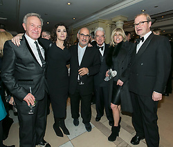 © Licensed to London News Pictures. 09/12/2014.LONDON UK. Simon Schama,Nigella Lawson, Alan Yentob,Nicky Haslam, Rachel Johnson and Harry Enfield..<br /> <br /> Media Society Annual Dinner 2014. Alan Yentob, Creative Director of the BBC, received the Media Society award honouring his diverse career in broadcasting at the Society's annual dinner, held at the Millennium Hotel Mayfair, London. Photo credit : ANDREW BAKER/LNP