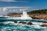 Point Lobos State Reserve near Weston Beach, wave crashing into the rocky shore.