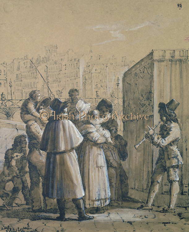 Travelling Theatre (Punch and Judy) on a bridge in Paris.   Boy plays a woodwind instrument as audience, mainly of women and children watch the performance. Study by Jean Henri Marlet (1771-1847) British painter .