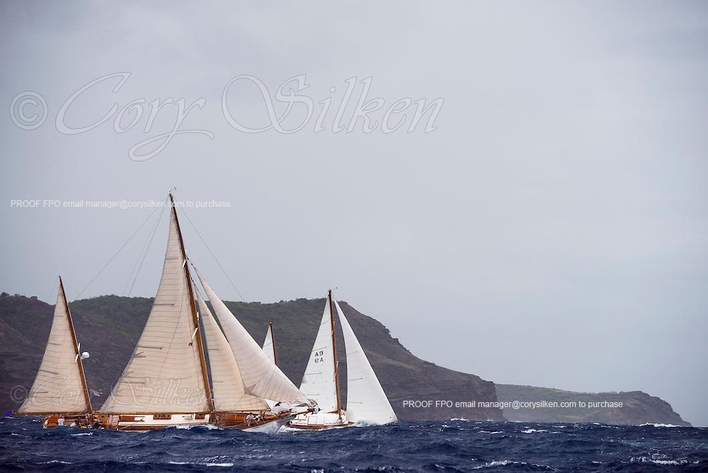 Bounty and Vagabundo II sailing in the Antigua Classic Yacht Regatta, Butterfly Race.