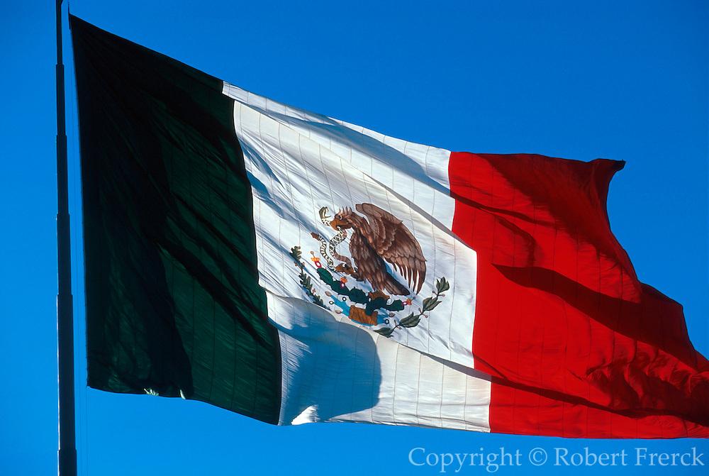 MEXICO, MEXICO CITY Nat.Flag with eagle, snake, cactus