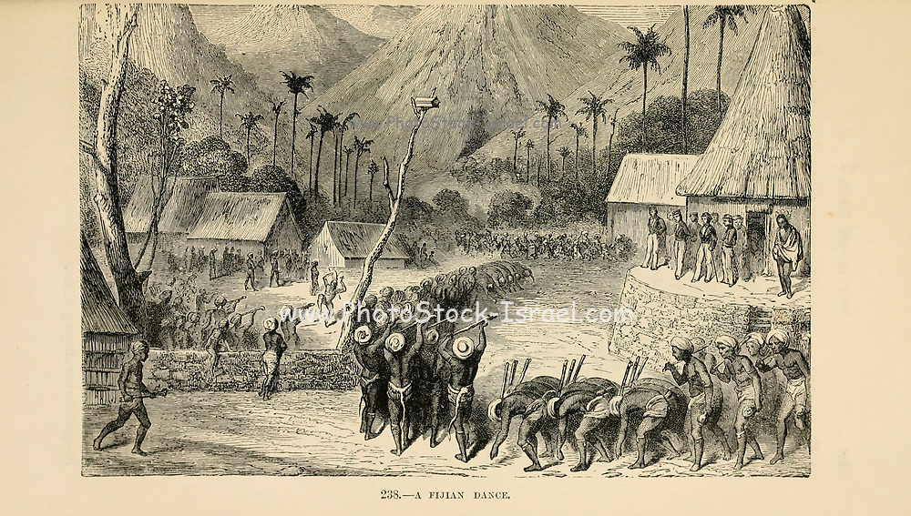 Fijian Dance engraving on wood From The human race by Figuier, Louis, (1819-1894) Publication in 1872 Publisher: New York, Appleton