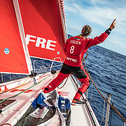 Leg 4, Melbourne to Hong Kong, day 05 on board MAPFRE, Sophie Ciszek giving instructions from the bow during a pilling. Photo by Ugo Fonolla/Volvo Ocean Race. 05 January, 2018.