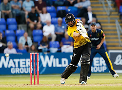 Gloucestershire's Ian Cockbain edges to keeper Glamorgan's Chris Cooke (not pictured)<br /> <br /> Photographer Simon King/Replay Images<br /> <br /> Vitality Blast T20 - Round 8 - Glamorgan v Gloucestershire - Friday 3rd August 2018 - Sophia Gardens - Cardiff<br /> <br /> World Copyright © Replay Images . All rights reserved. info@replayimages.co.uk - http://replayimages.co.uk