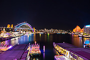 View of Sydney Harbour over looking Circular Quay during Vivid Sydney 2016