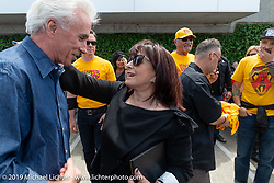 Beverly Ness gets hugs and well-wishes from guests at the Arlen Ness Memorial - Celebration of Life at the Arlen Ness Motorcycles store. Dublin, CA, USA. Saturday, April 27, 2019. Photography ©2019 Michael Lichter.