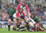 Reading, Berkshire, 10th May 2003,  [Mandatory Credit; Peter Spurrier/Intersport Images], Zurich Premiership Rugby, Agustin Pichot, clears the ball, watched by Mike Worsley [left] team mate Alex Brown [scull cap] and Naka Drotske  [London Irish hooker  right],