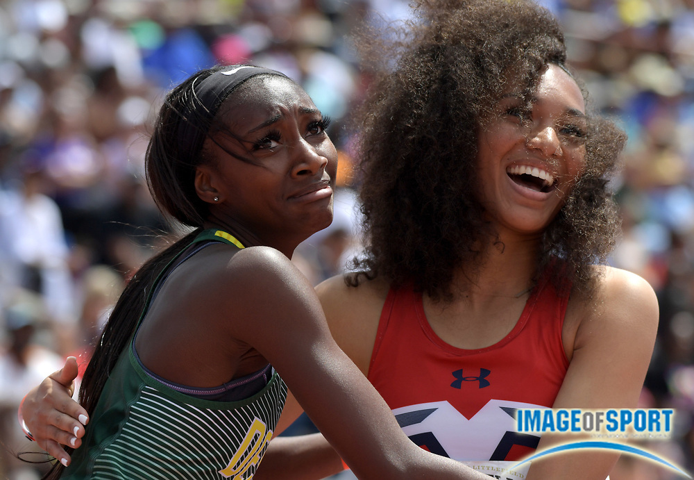 Mar 31, 2018; Austin, TX, USA; Antoinette Bradley of De Soto (right) and Alyssa Miller of McKinney Boyd embrace after placing first and second in the girls Division II 100m hurdles during the 91st Clyde Littlefield Texas Relays at Mike A. Myers Stadium. Mandatory Credit: Kirby Lee-USA TODAY Spor
