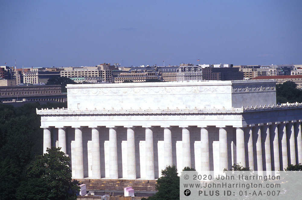 An aerial view of the Lincoln Memorial.