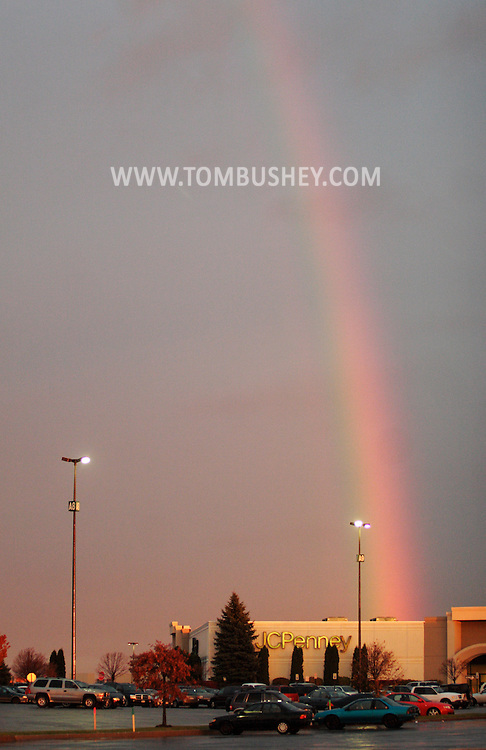 Town of Wallkill, NY -  A rainbow is visible in the sky over the Galleria at Crystal Run mall and the end of a rainy day on  Nov. 15, 2007.