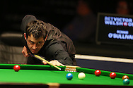 Ronnie O'Sullivan in action during his semi final match against Joe Perry. Betvictor Welsh Open snooker 2016, day 6 Semi finals day at the Motorpoint Arena in Cardiff, South Wales on Saturday 20th Feb 2016.  <br /> pic by Andrew Orchard, Andrew Orchard sports photography.