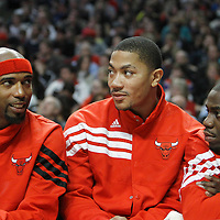 30 March 2012: Chicago Bulls shooting guard Richard Hamilton (32), Chicago Bulls point guard Derrick Rose (1) and Chicago Bulls shooting guard Ronnie Brewer (11) are seen on the bench during the Chicago Bulls 83-71 victory over the Detroit Pistons at the United Center, Chicago, Illinois, USA. NOTE TO USER: User expressly acknowledges and agrees that, by downloading and or using this photograph, User is consenting to the terms and conditions of the Getty Images License Agreement. Mandatory Credit: 2012 NBAE (Photo by Chris Elise/NBAE via Getty Images)