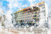 Digitally enhanced image of Israel, Tel Aviv, the Dan Hotel on the beach front. The colourful facade by Yaacov Agam