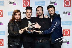 Bastille with the award for Best Track for Good Grief during the Stubhub Q Awards 2016, in association with Absolute Radio, at the Roundhouse, London.