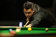 Ronnie O'Sullivan (Eng) taking a shot. Ronnie O'Sullivan v Liang Wenbo, 1st round match at the Dafabet Masters Snooker 2017, day 1 at Alexandra Palace in London on Sunday 15th January 2017.<br /> pic by John Patrick Fletcher, Andrew Orchard sports photography.