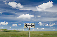Weathered road sign near Choteau Montana