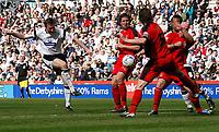 Photo: Steve Bond.<br /> Derby County v Coventry City. Coca Cola Championship. 09/04/2007. Steve Howard shoots