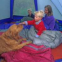 A family wakes up in their tent in California's Sierra Nevada.