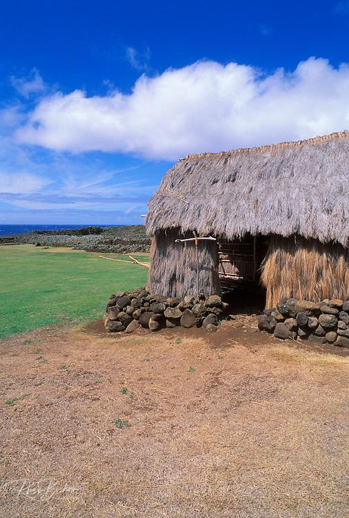 Thatched hut at the Mookini Heiau (temple), birthplace of King Kamehameha, The Big Island, Hawaii