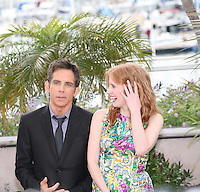 Ben Stiller and Jessica Chastain at the Madagascar 3: Europe's Most Wanted photocall at the 65th Cannes Film Festival. Friday 18th May 2012 in Cannes Film Festival, France.