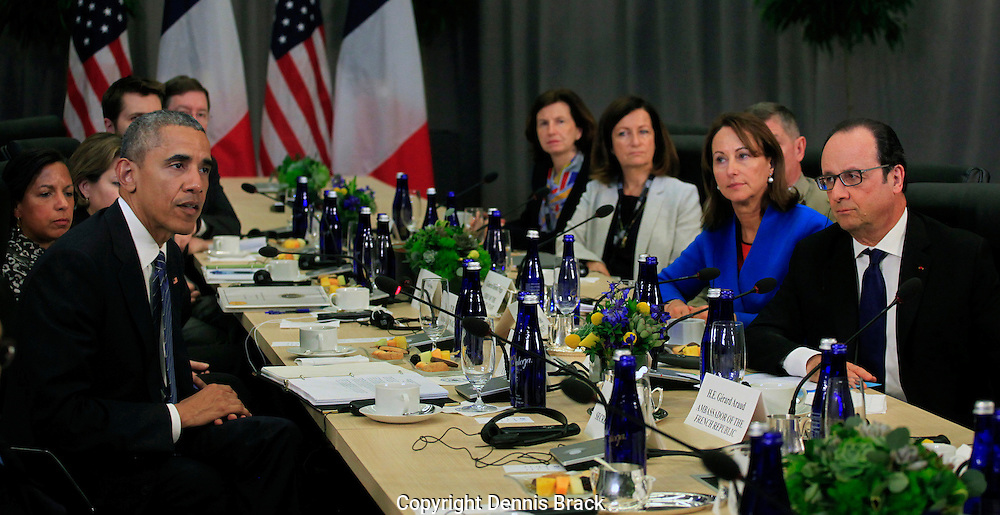 President Barack Obama holds a bilateral meeting with President Francois Hollande of France at the Nuclear Security Summit in Washington, DC  on March 31, 2016.  photo by l Dennis Brack