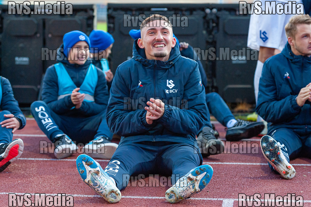 LAUSANNE, SWITZERLAND - NOVEMBER 10: #9 Andi Zeqiri of FC Lausanne-Sport celebrates team victory after the Challenge League game between FC Lausanne-Sport and FC Schaffhausen at Stade Olympique de la Pontaise on November 10, 2019 in Lausanne, Switzerland. (Photo by Monika Majer/RvS.Media)